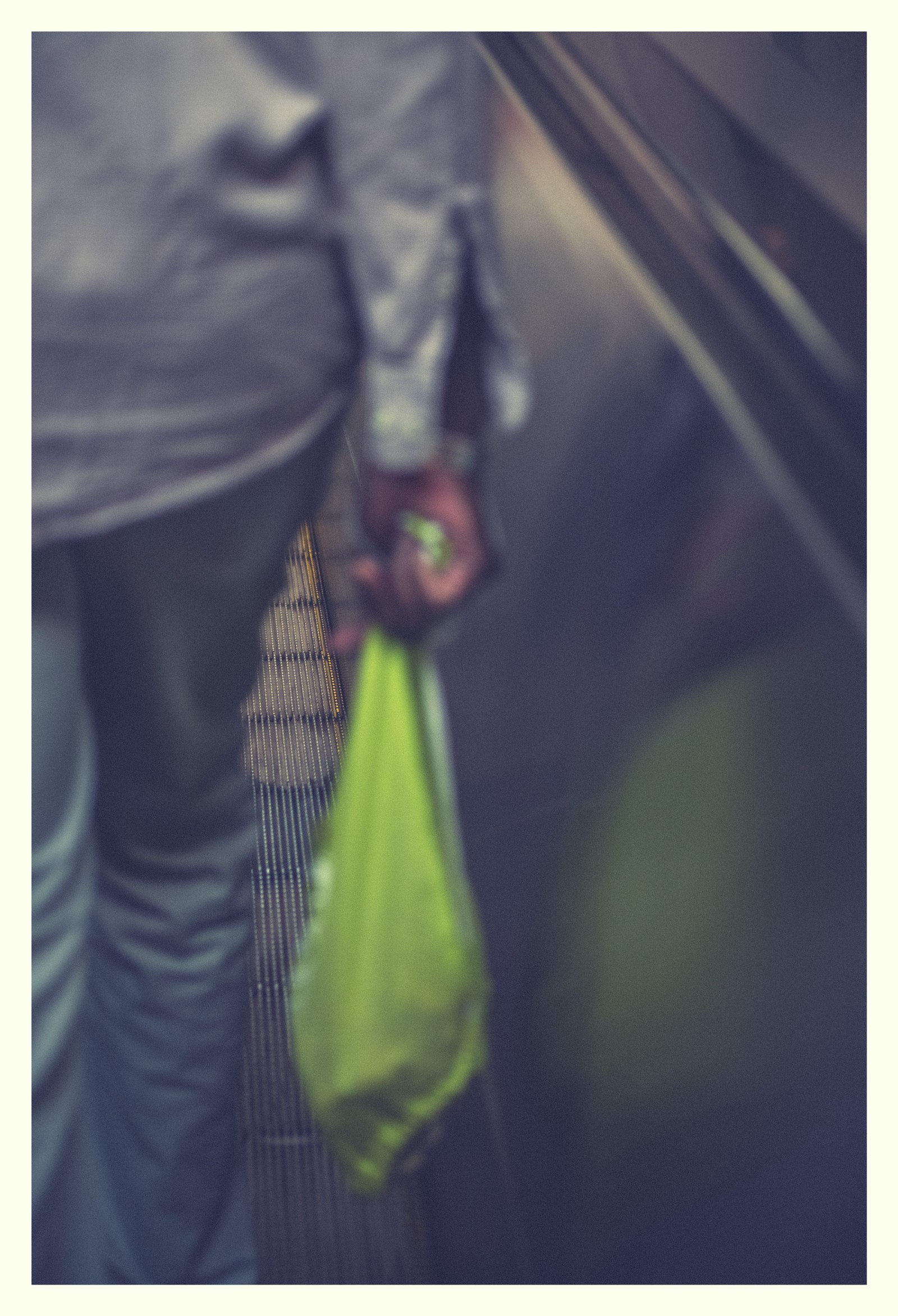 Person close up from behind with bag in hand