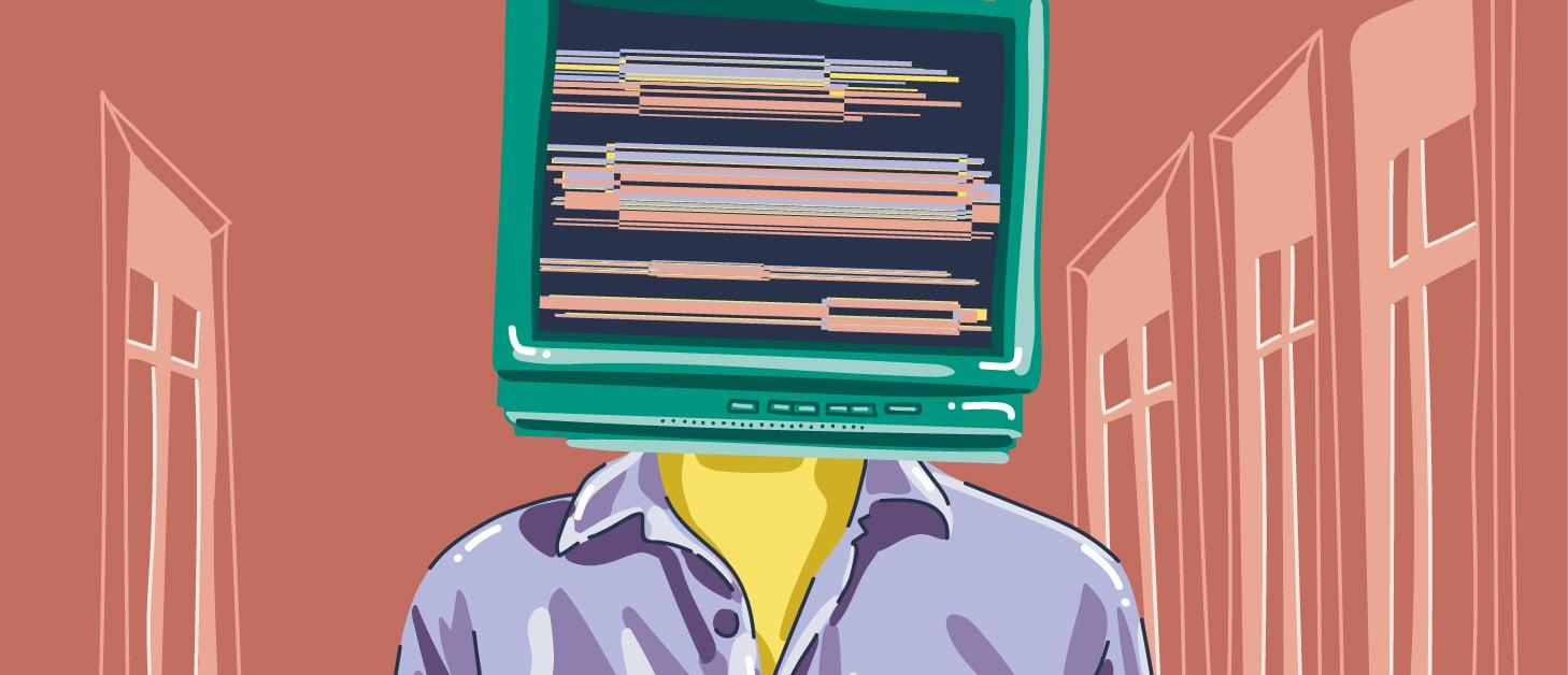 Illustrert bilde av en person med en dataskjerm som hode