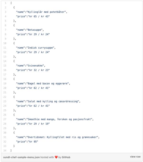 Modell: generert JSON