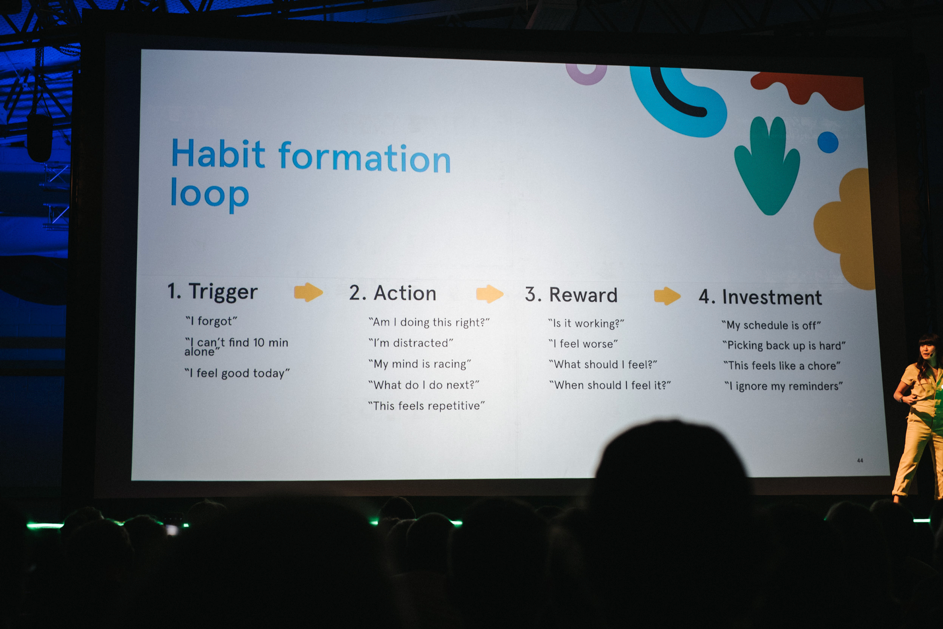 "Keynote-slide av ""habit formation loop"": trigger, action, reward and investment"